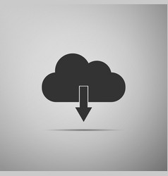 cloud download icon isolated on grey background vector image