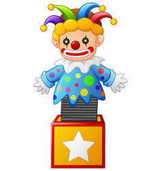 Clown jumping out from a box vector