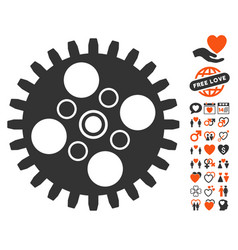 cogwheel icon with lovely bonus vector image