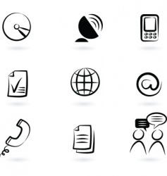 Communication technology icon and logos vector