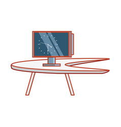 computer monitor with desk isolated vector image