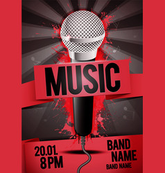 concert party flyer poster design with microphone vector image
