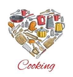 Cooking utensils in heart shape poster vector image