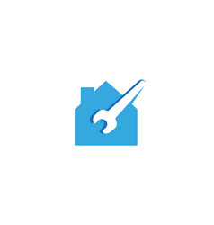 creative blue house wrench logo design symbol vector image
