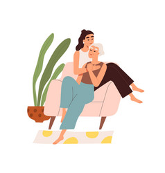 cute elderly homosexual couple spending time vector image