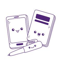 Cute smartphone book and pen kawaii cartoon vector