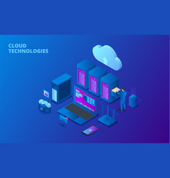 dark isometric cloud storage technology concept vector image