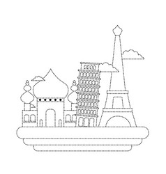 Dotted shape taj mahal and leaning tower of pisa vector