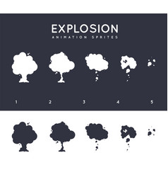 Explosion explode effect animation with smoke vector