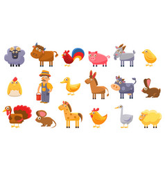 Farm animals set male farmer livestock and pets vector
