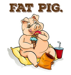 Fat pig eating ice cream vector image