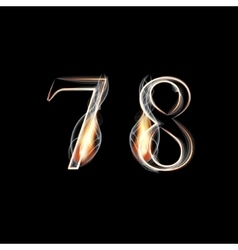 Fire and Smoke font Numbers 7 8 vector image