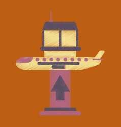 Flat icon in shading style plane takeoff airport vector