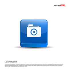 Gear box icon - 3d blue button vector
