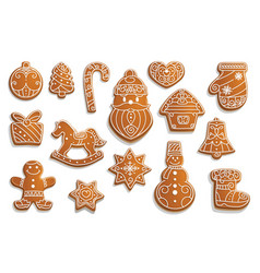 gingerbread cookies christmas holiday food vector image