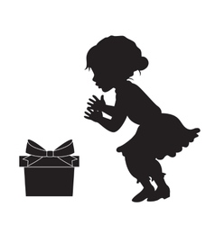Girl in vinrage dress and the gift box silhouette vector image