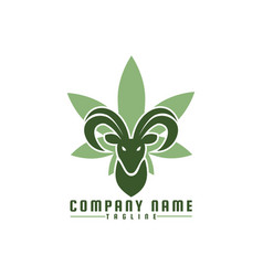 goat cannabis logo vector image