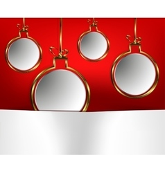 Gold-plated christmas balls on a red background vector
