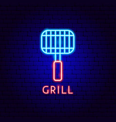 grill neon label vector image