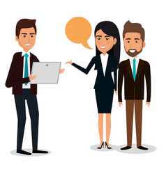 Group of businespeople with speech bubble teamwork vector