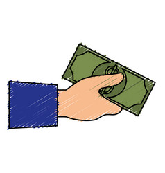 hand human with bills money isolated icon vector image