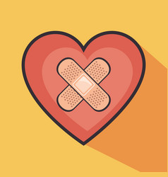Heart with cross band aid vector