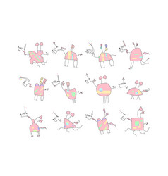 herd of pink unicorns with wings and horn - doodle vector image