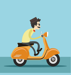 hipster man riding scooter vector image