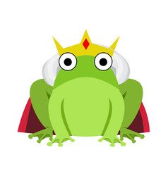 King frog with red cape and crown vector