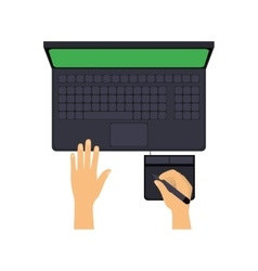 Laptop with hands writing in optical tablet vector