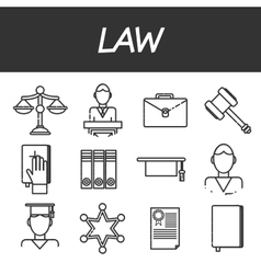 Law icons set vector image