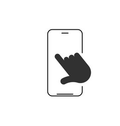 Linear phone and technology icon with hand vector