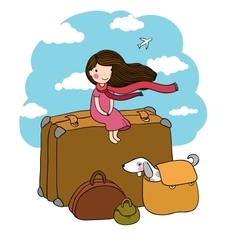 Little girl and big bags vector