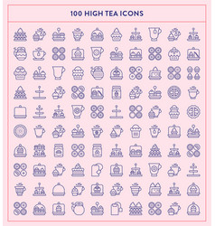 made by made high tea line icons vector image