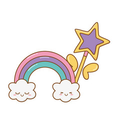 Magic wand with cloud and rainbow vector