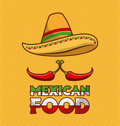 Mexican food chili pepper and hat traditional vector