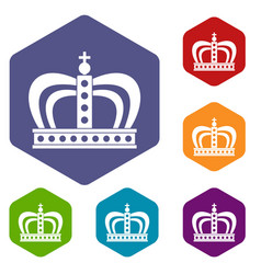Monarchy crown icons set hexagon vector