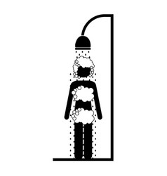 Monochrome pictogram of the woman in the shower vector