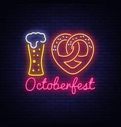 neon poster to oktoberfest festival i love vector image