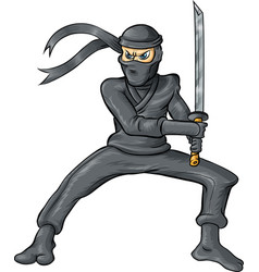 ninja cartoon isolated on white background vector image