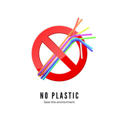 no plastic straws save environment banner protect vector image