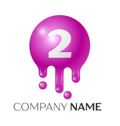 number two splash logo purple dots and bubbles vector image