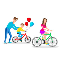 people riding on bicycles active family vacation vector image
