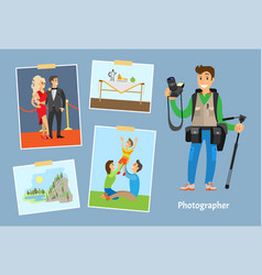 Photographer with camera or tripod and photographs vector