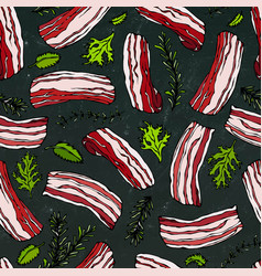 pork bacon and herbs seamless isolated on a black vector image