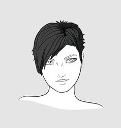 Portrait of brunette girlwith short hair vector image