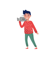 professional videographer with camera young guy vector image