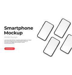 realistic phone mockup set modern phones vector image