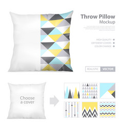 realistic pillows print pattern set vector image