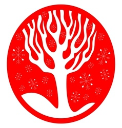Red Background With Snowflakes Tree vector image